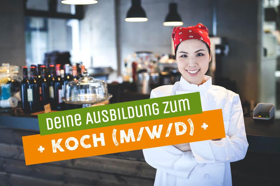 Frau als Vertreterin für Ausbildung zur Köchin