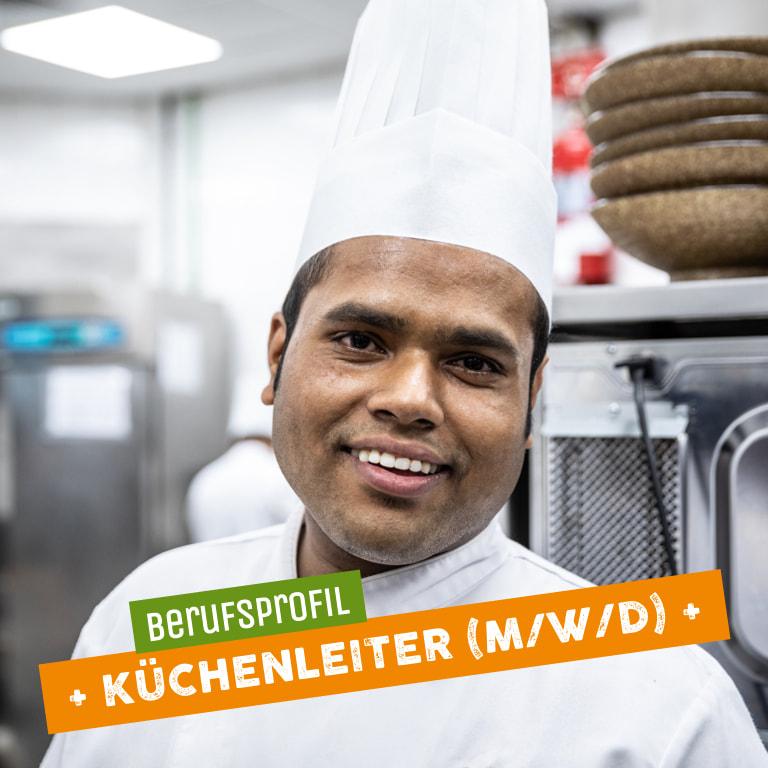 Lächelnder Koch als Vertreter für Küchenleiter