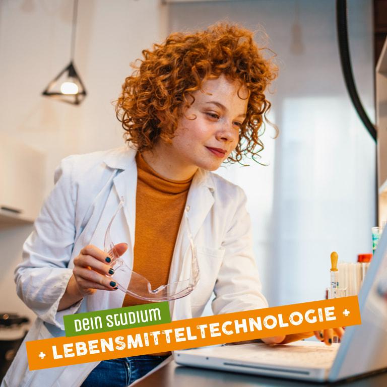 Rothaarige Frau als Vertreterin des Studiengangs der Lebensmitteltechnologie